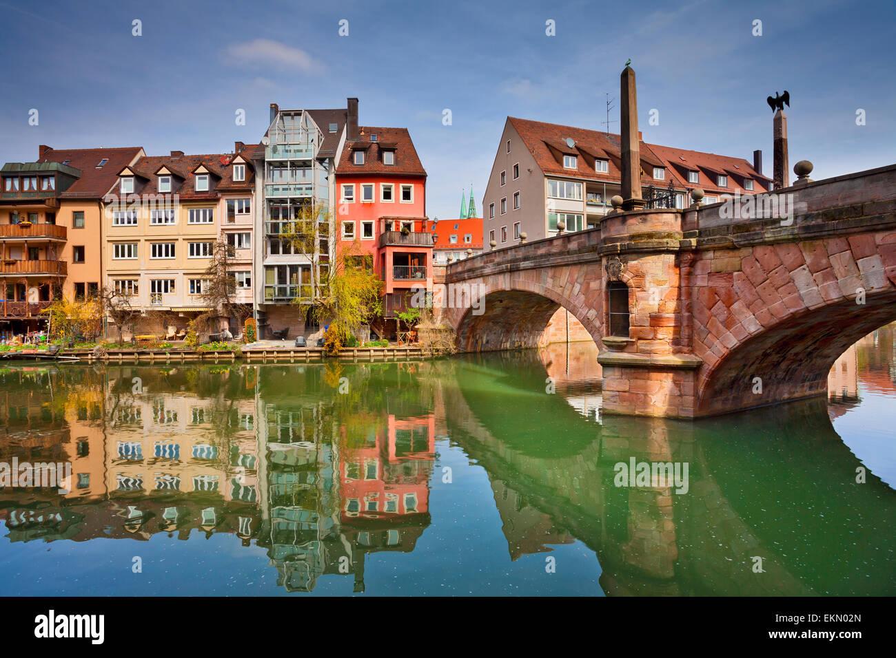 Nürnberg. Bild der Nürnberger Altstadt während sonniger Frühlingstag. Stockbild