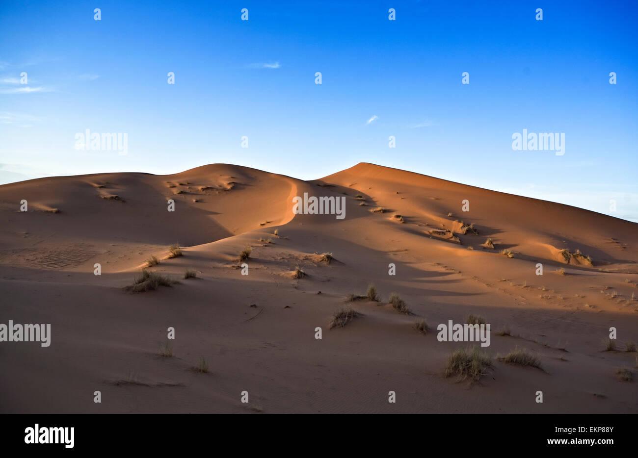 Mehrere Sand Hill Am Erg Chebbi in der Wüste Sahara. ers sind große Dünen vom Wind geformt - durchgebrannt Sand. Marokko Stockfoto