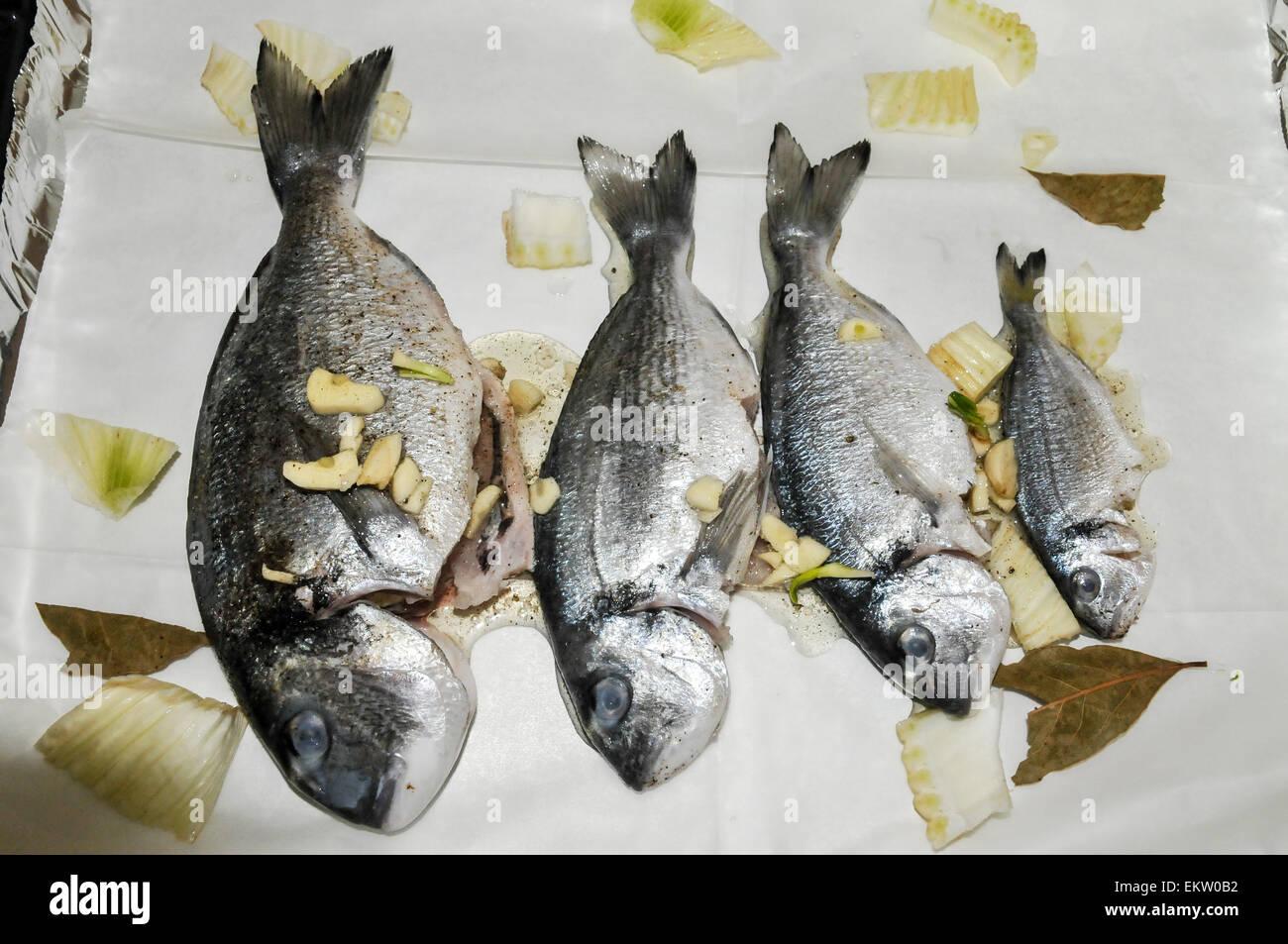 Roher Fisch zum Grillen bereit Stockbild