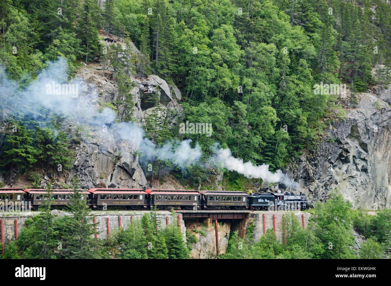 Reise, Alaska, altmodisch, Dampfzug Stockbild