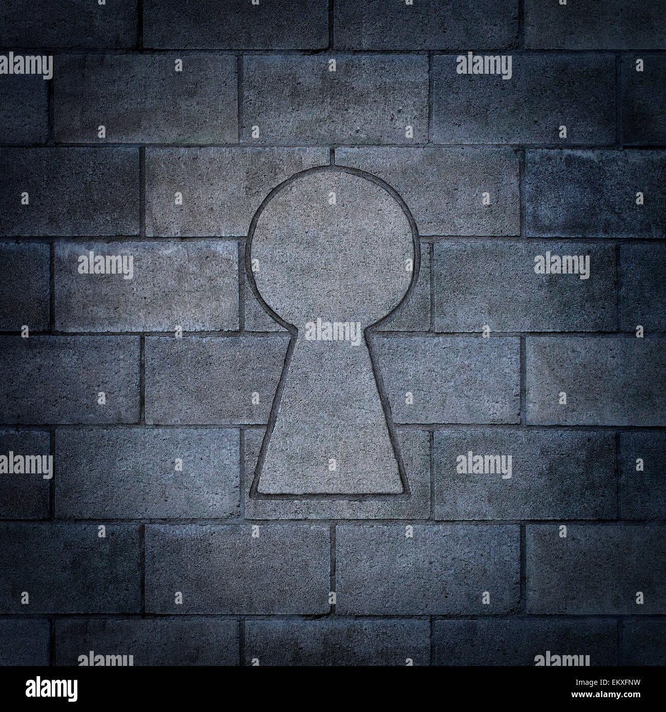 Entdeckung der Möglichkeit als eine Mauer aus Betonsteinen mit einem Betonklotz, geformt wie ein Schlüsselloch Stockbild
