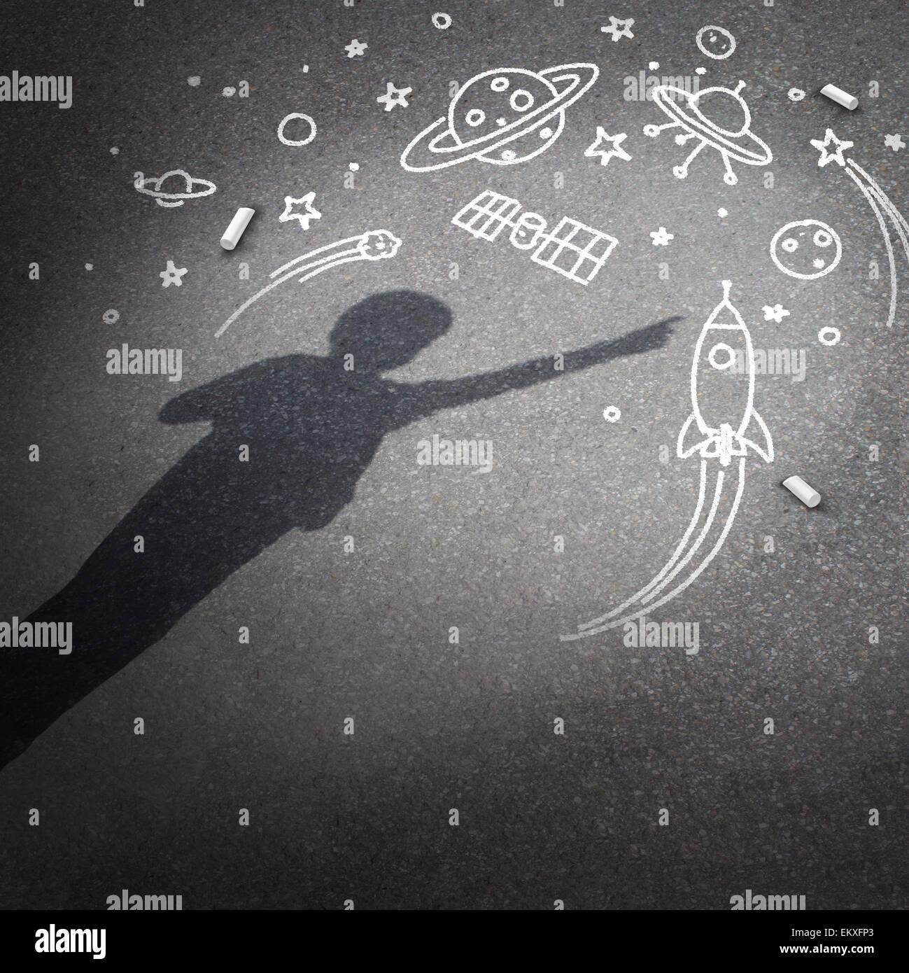 Kind Raum Traum als Kindheit Phantasie Konzept mit einem Schlagschatten von einem Kind träumt, ein Astronaut Stockbild