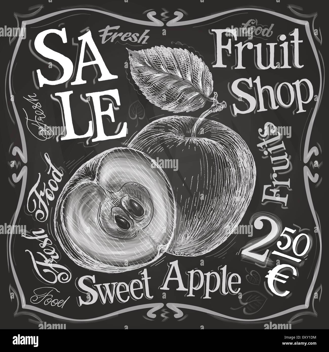Apfel, Granatapfel-Vektor-Logo-Design-Vorlage. frisches Obst, Essen ...
