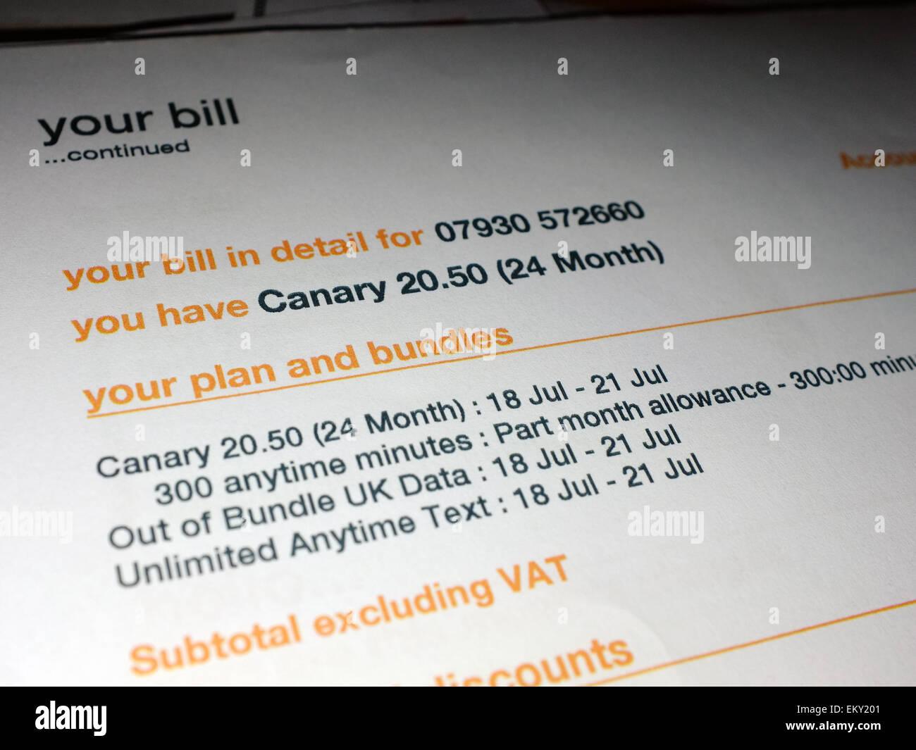 Eine monatliche Handy-Rechnung von Orange Stockfoto, Bild: 81114209 ...