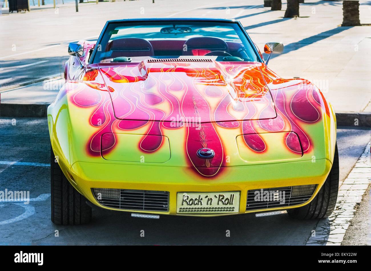 Gelben amerikanischen Sportwagen Stockbild