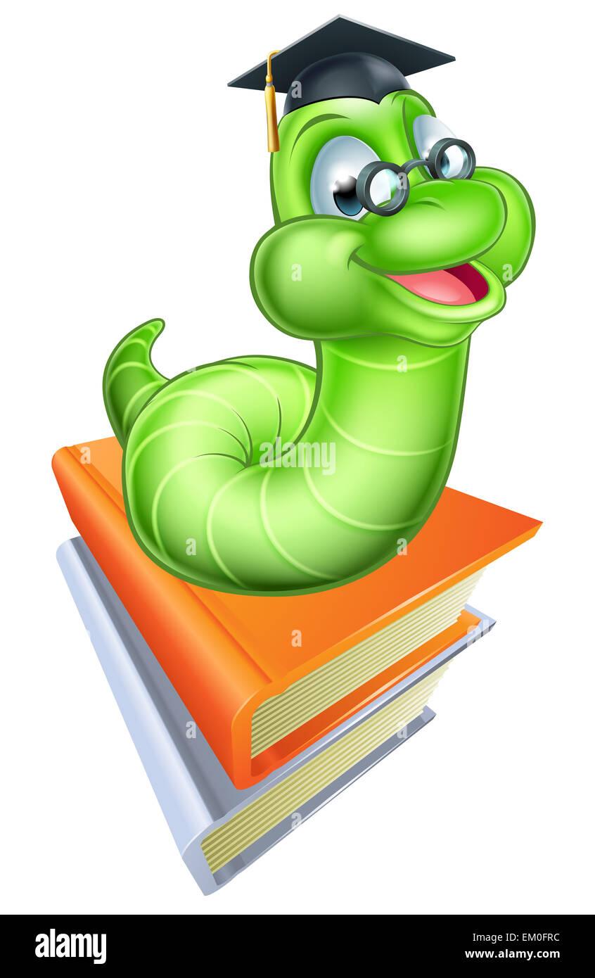 Bücherwurm clipart  Glücklich Cartoon Raupe Wurm Bücherwurm Maskottchen tragen Brillen ...