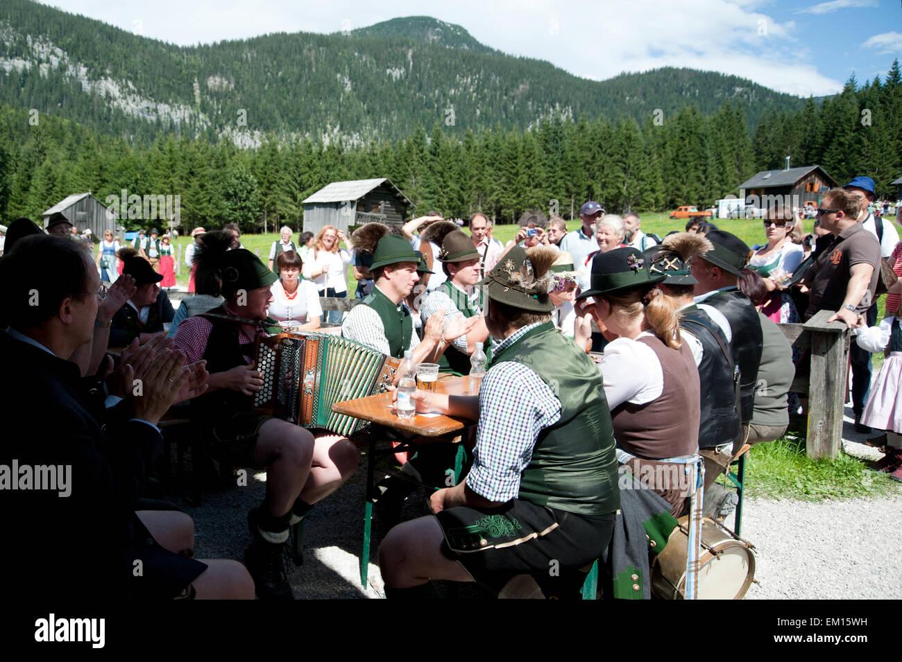 Musiker Beim Pfeifertag Auf der Blaa-Alm, Altaussee, Salzkammergut, Steiermark, Österreich Stockbild
