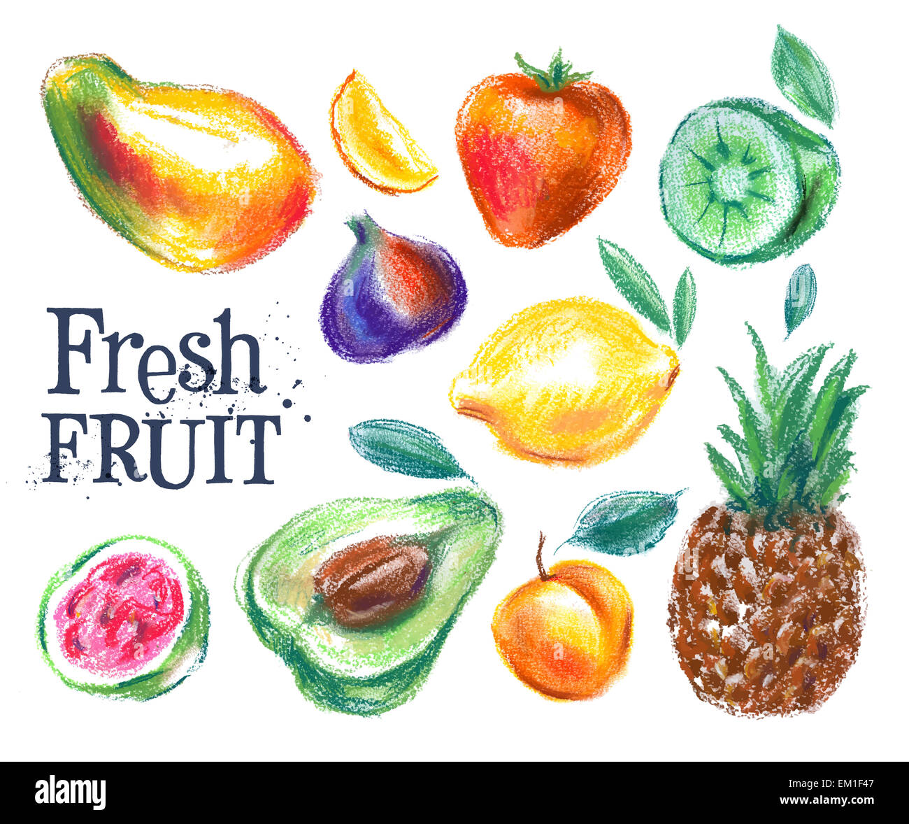 Pineapple Fresh Fruit Drawing Icon Stockfotos & Pineapple Fresh ...