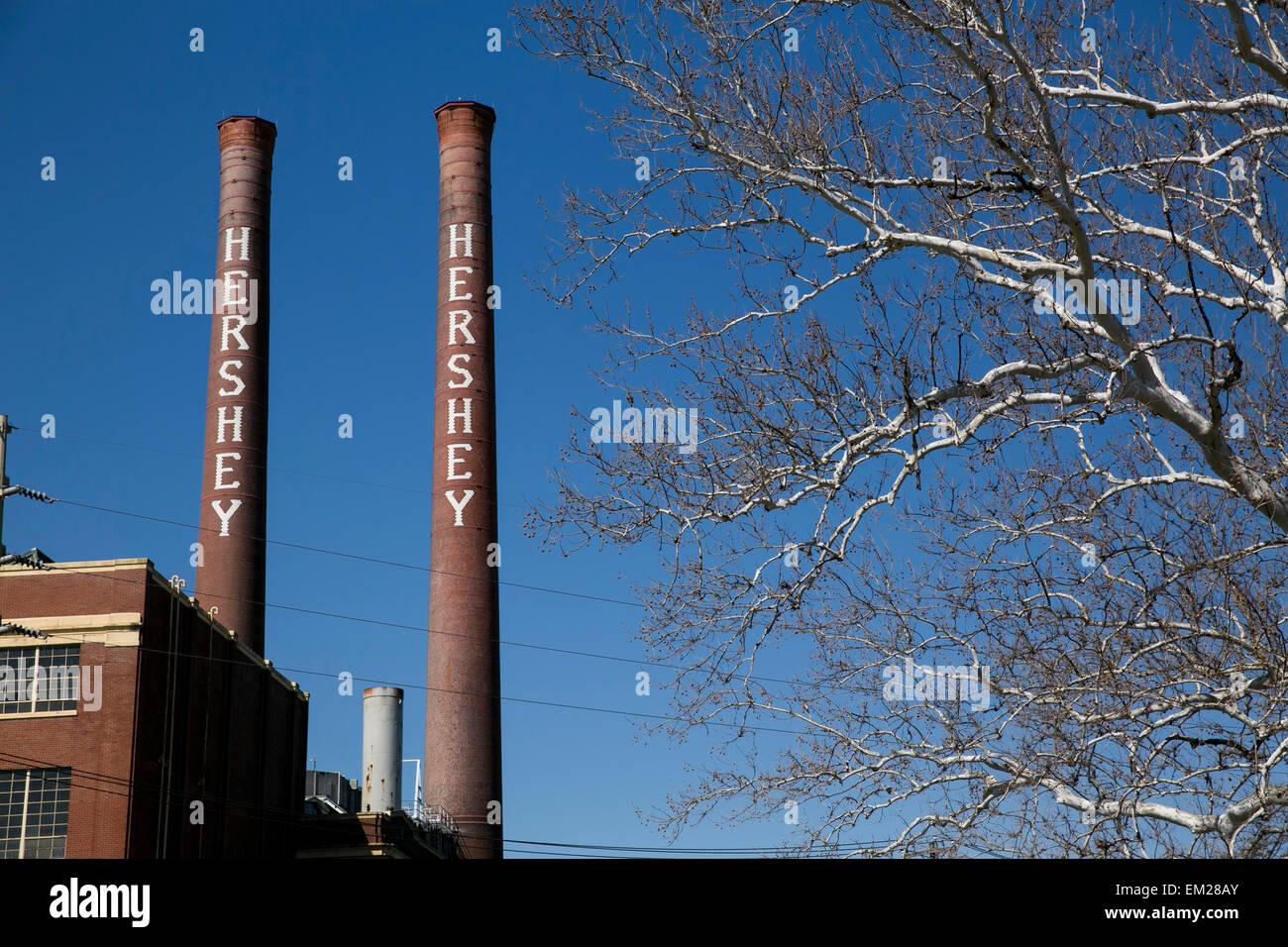 Ein Blick auf die ursprüngliche Hershey Schokoladenfabrik in Hershey, Pennsylvania. Stockfoto