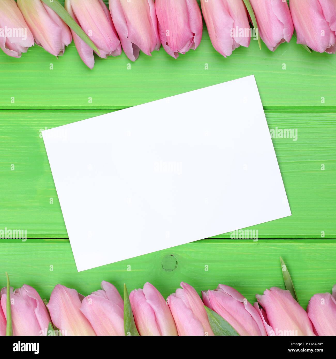Tulpen-Blumen im Frühling mit Grußkarte und Exemplar für Ihren eigenen text Stockbild