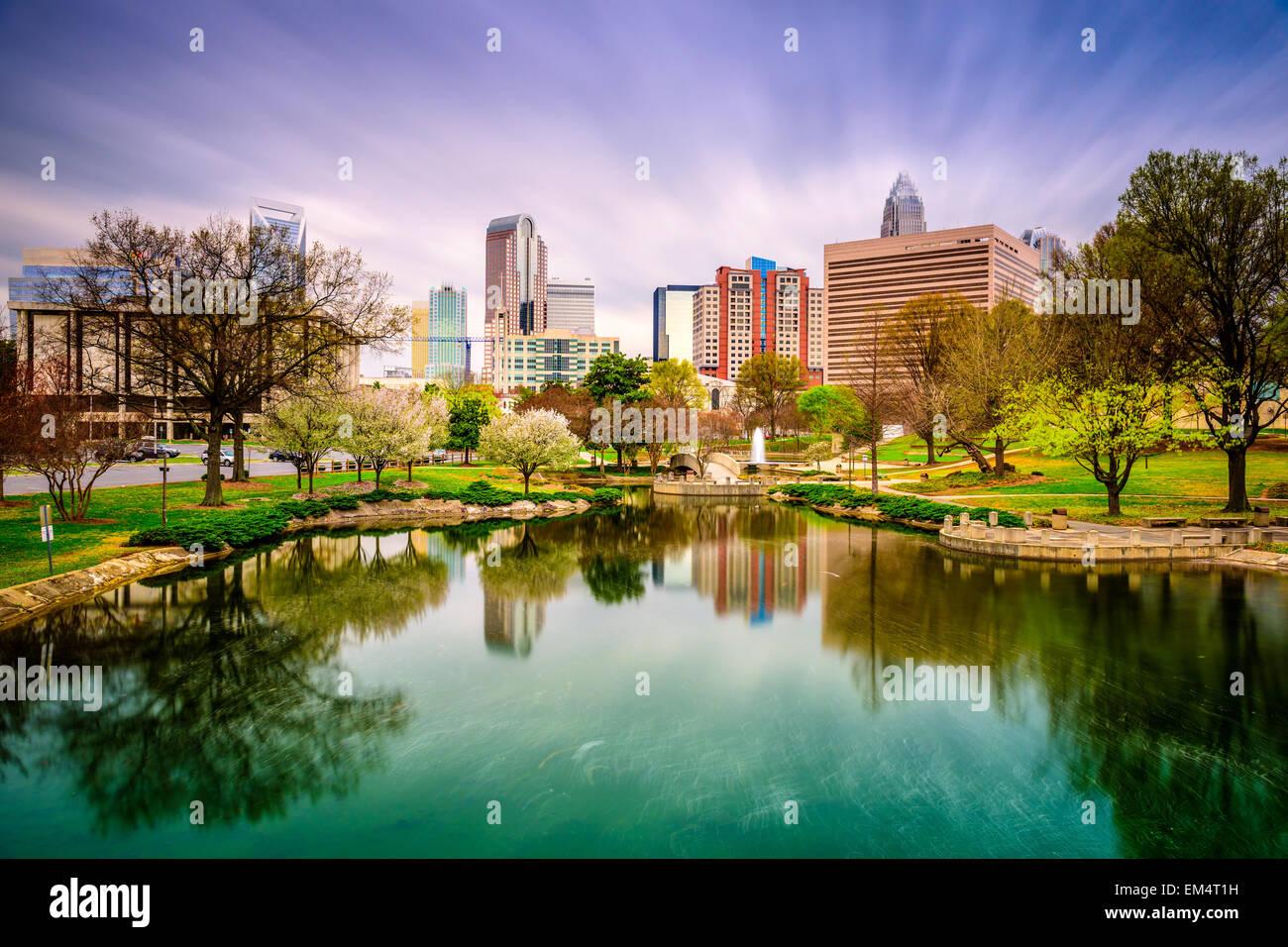Skyline von Charlotte, North Carolina, USA. Stockfoto