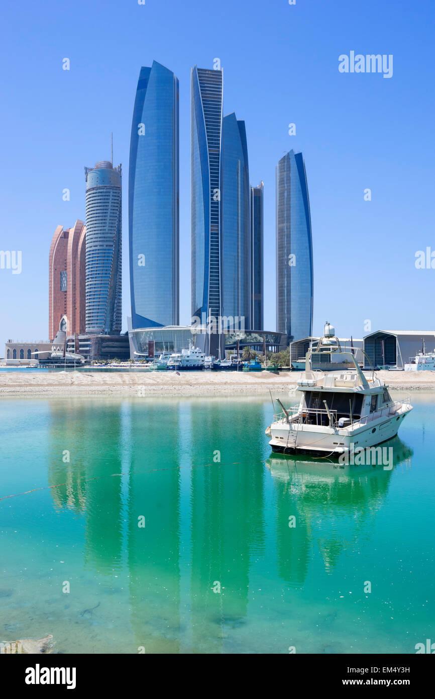 Etihad towers in Abu Dhabi Vereinigte Arabische Emirate Stockbild