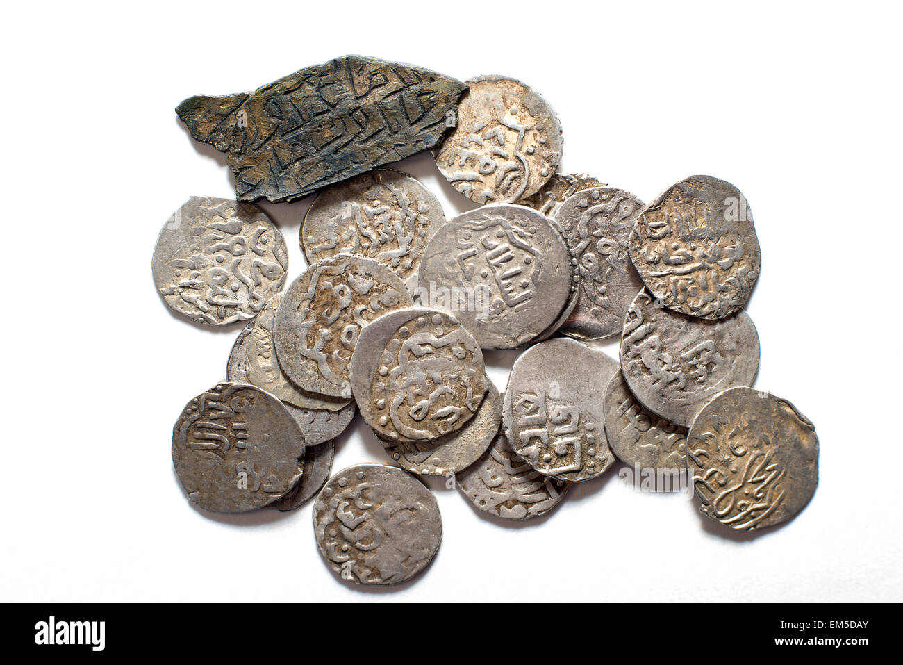 Viele Antike Münzen Silber Arabisch Auf Weißem Hintergrund Stockfoto