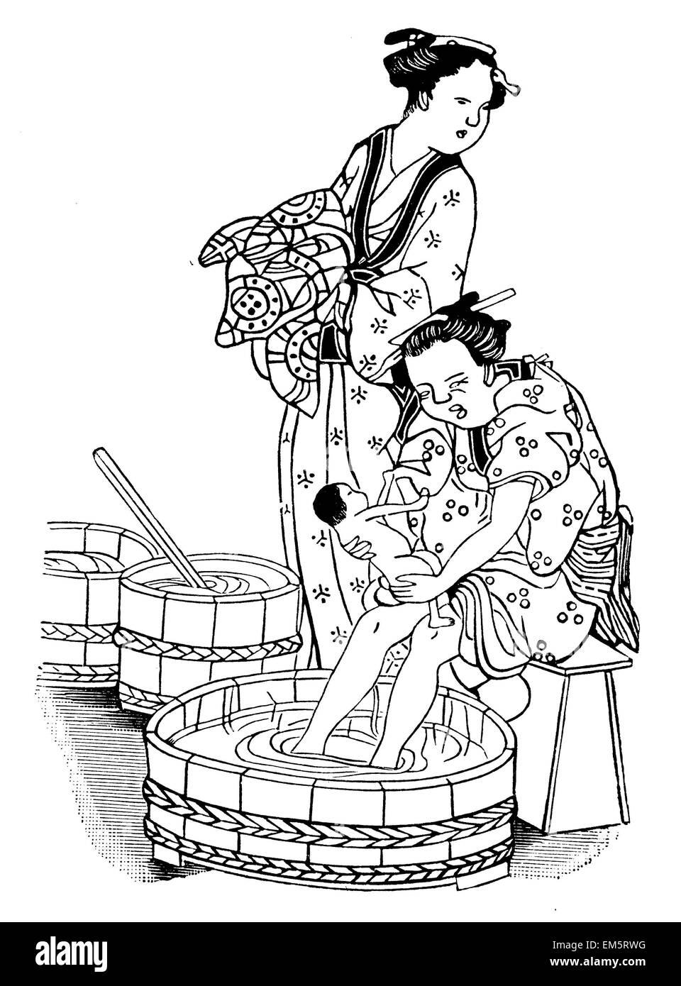 Bad eines Neugeborenen. Nach einem japanischen Holzschnitt Stockbild
