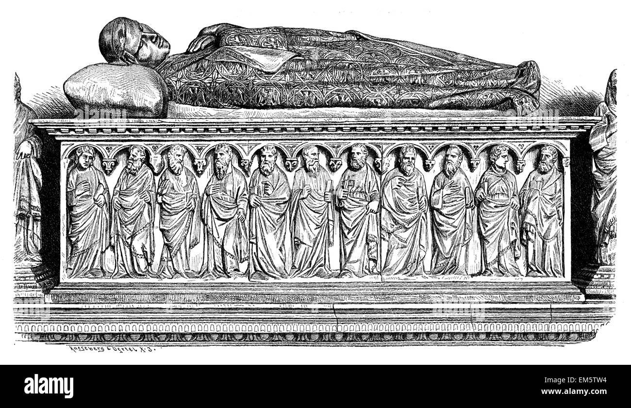 Marmor-Sarkophag von Henry VII in Campo Santo in Pisa Stockbild