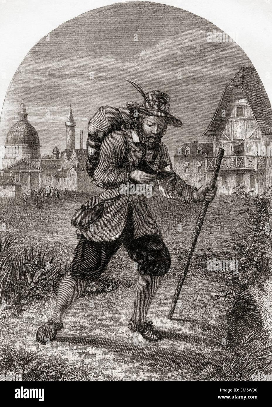Christian, der Stadt der Zerstörung zu verlassen.  Von der Pilgerreise von John Bunyan. Stockbild