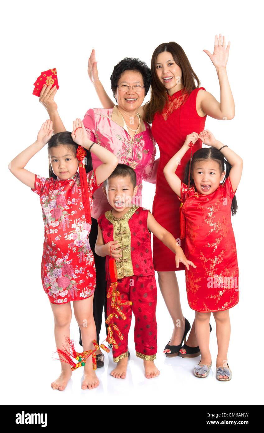Asiatische chinesische Familie, wir wünschen Ihnen ein frohes neues ...