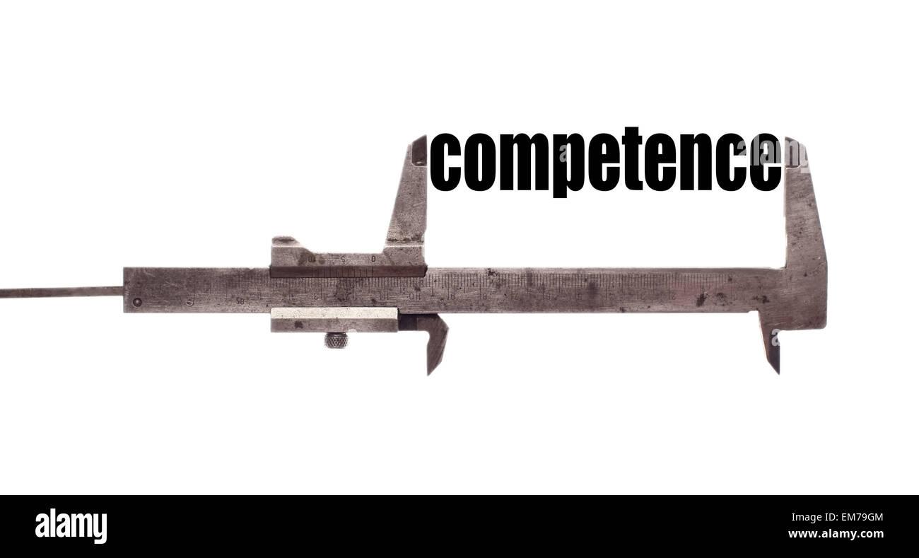 """Farbe der horizontalen Schuss von einem Bremssattel und messen das Wort """"Kompetenz"""". Stockbild"""