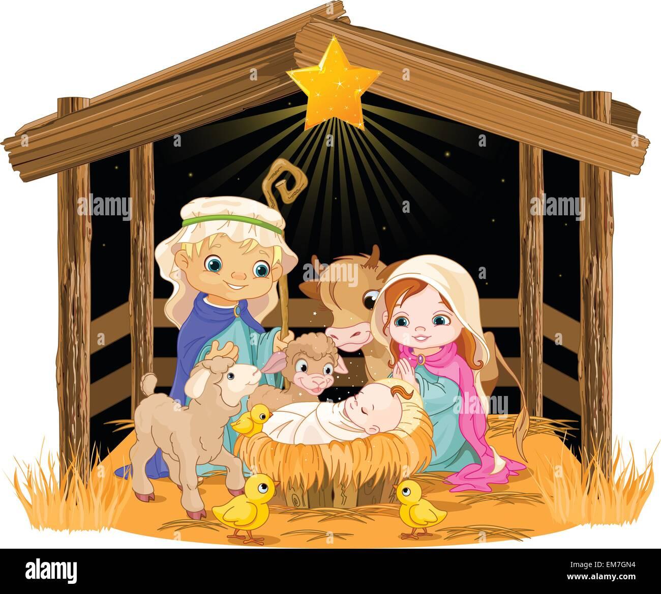 Heilige Familie Weihnachten nachts Vektor Abbildung - Bild: 81301392 ...