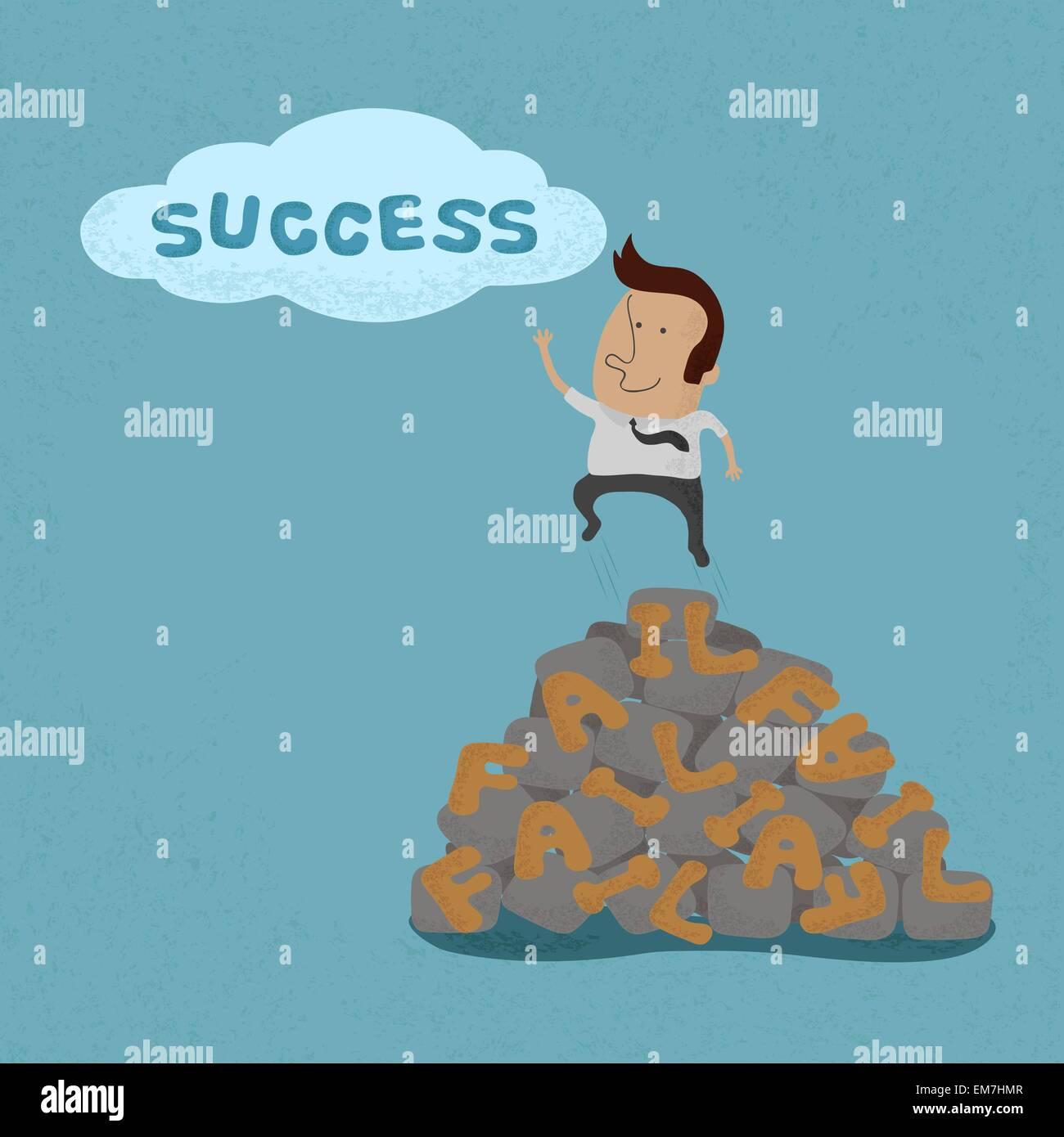 Geschäftsmann, springen über den Ausfall gehen zum Erfolg, symbolizin Stockbild