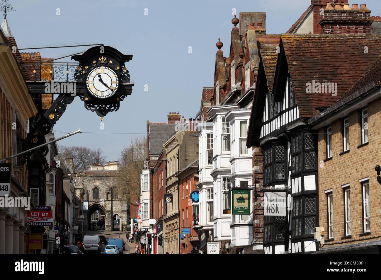 Winchester High Street, Winchester, Hampshire UK Stockbild