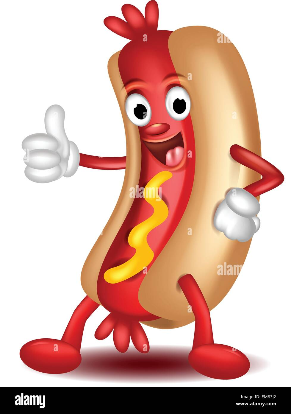 Hot Dog Cartoon Daumen Hoch Vektor Abbildung Bild 81313066 Alamy