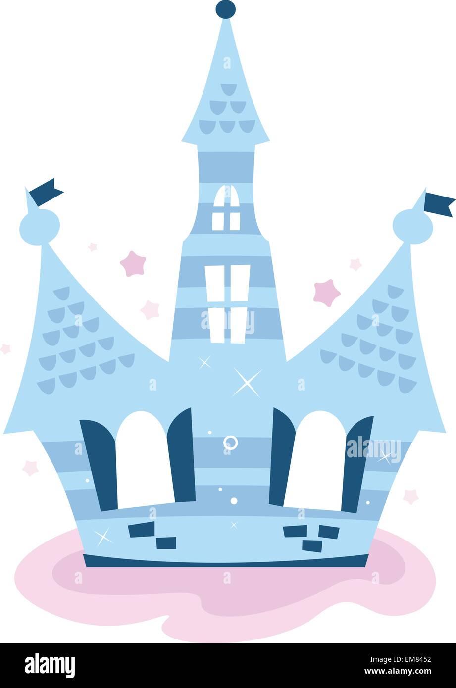 Prinzessin Himmelsschloss isoliert auf weiss (blau) Stockbild