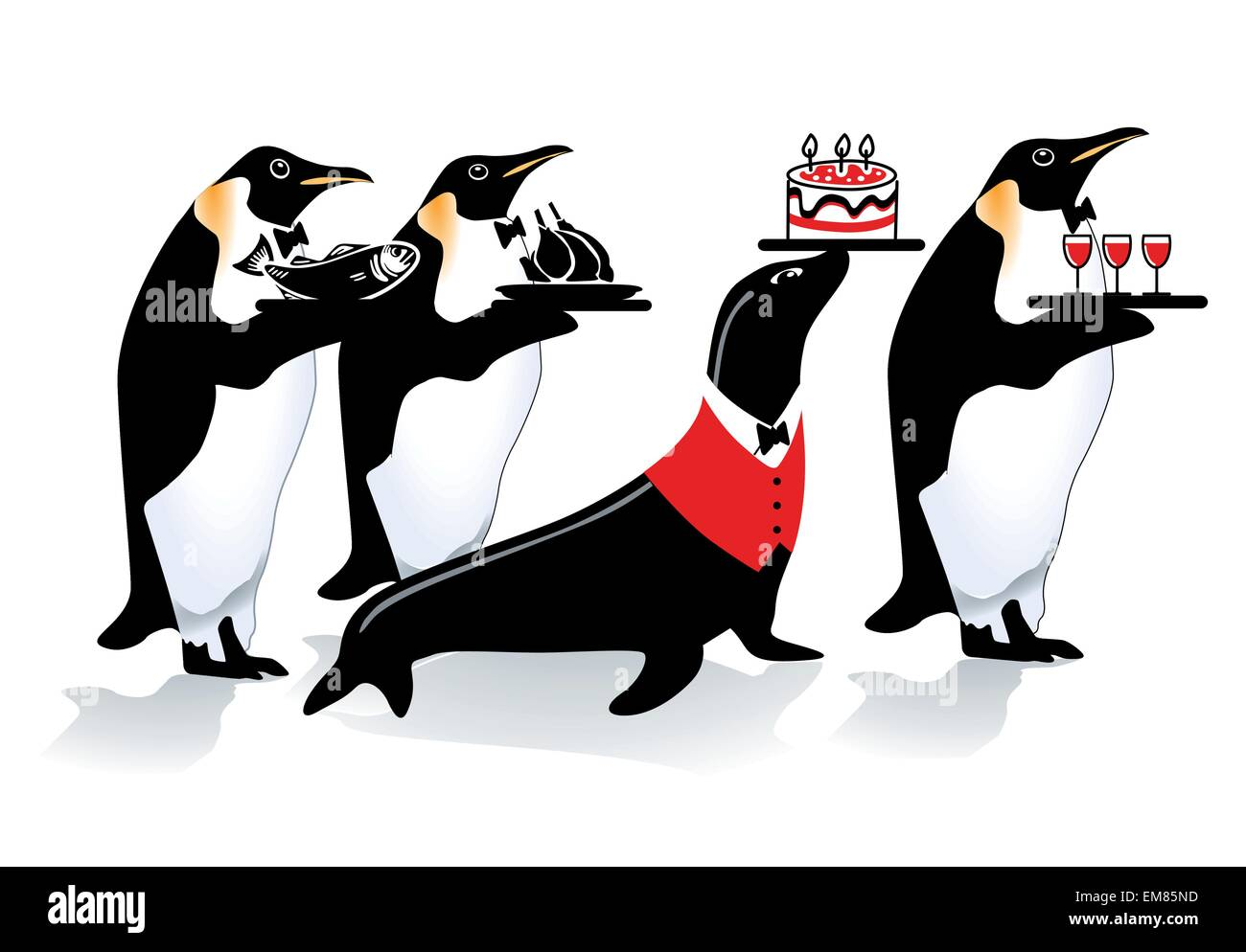 Pinguin Geburtstag Vektor Abbildung Bild 81314729 Alamy