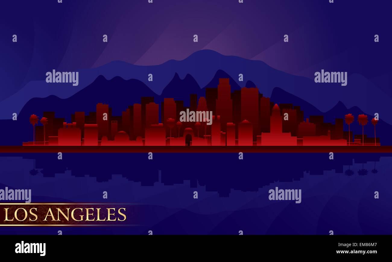 Los Angeles Nacht Stadt Skyline detaillierte silhouette Stockbild