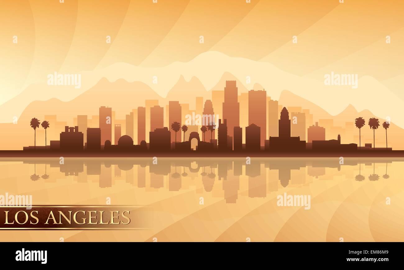 Skyline-detaillierte Silhouette der Stadt Los Angeles Stockbild