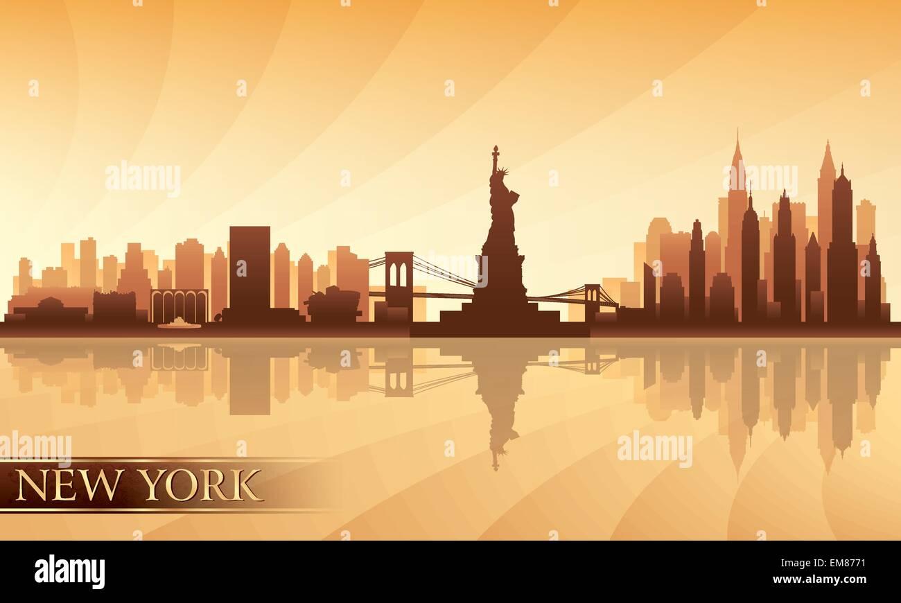 New York City Skyline detaillierte silhouette Stockbild