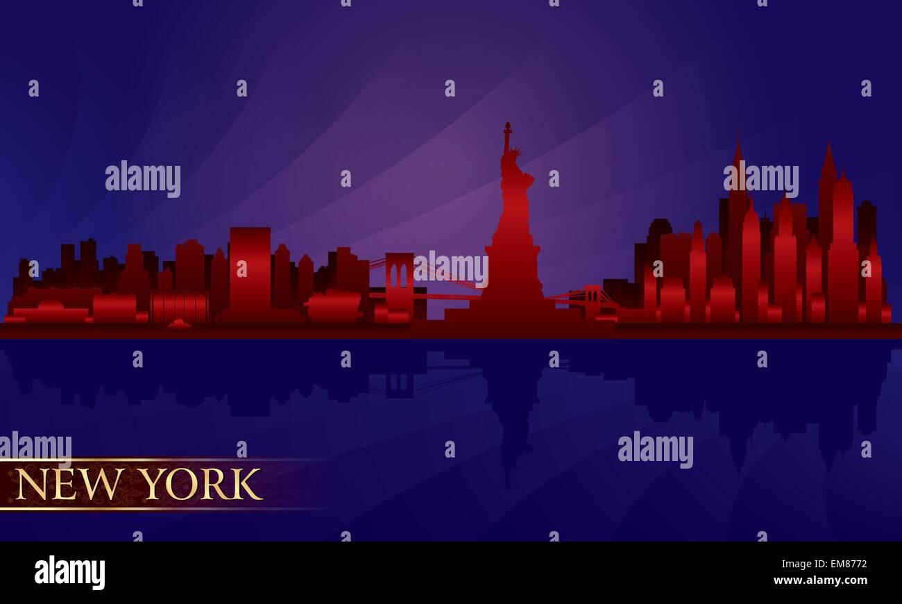 New York Nacht Stadt Skyline detaillierte silhouette Stockbild