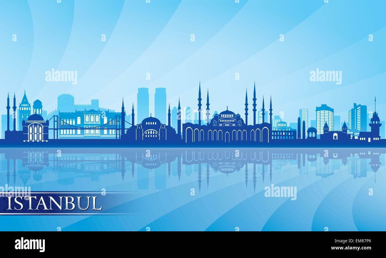 Istanbul Stadt Skyline detaillierte silhouette Stockbild