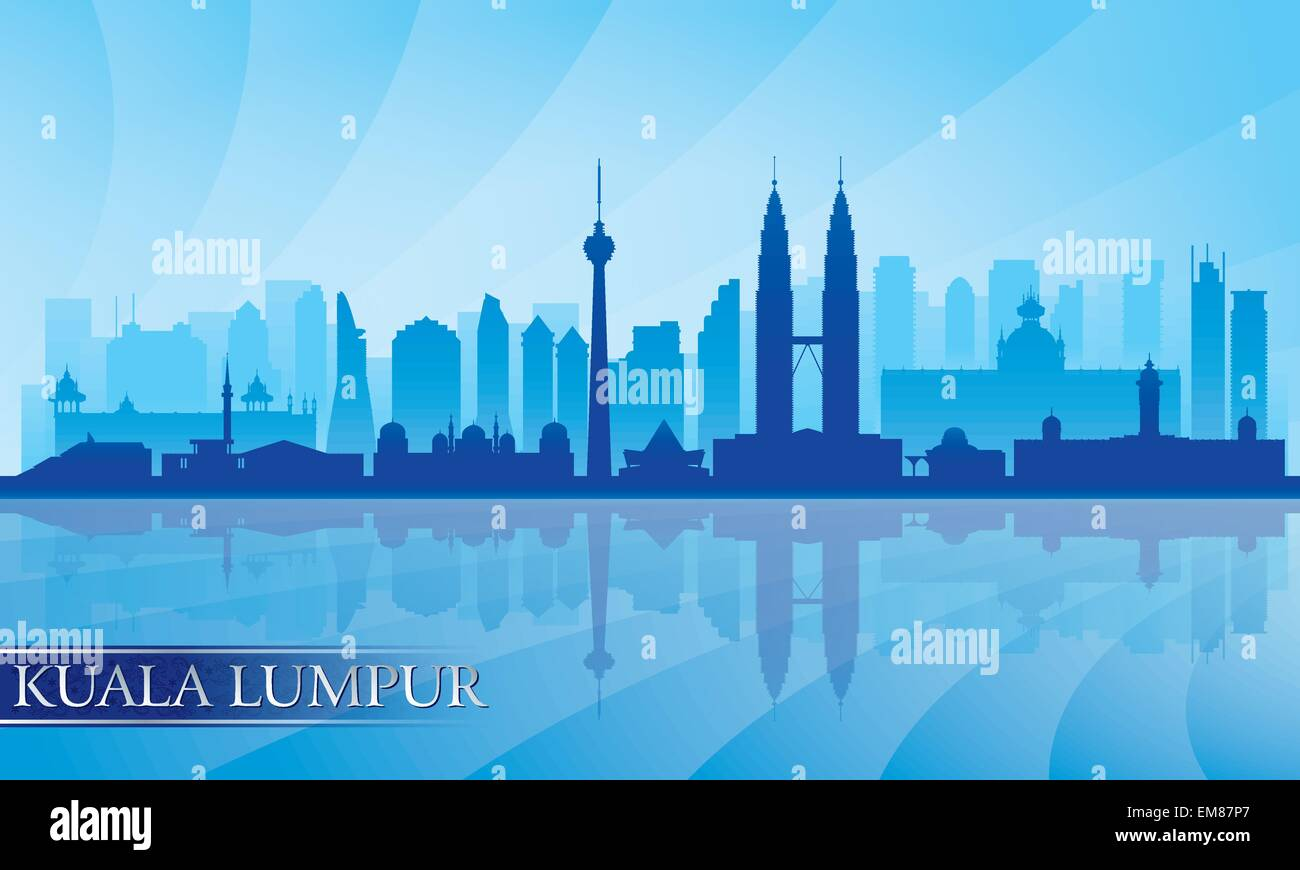 Kuala Lumpur City Skyline detaillierte silhouette Stockbild