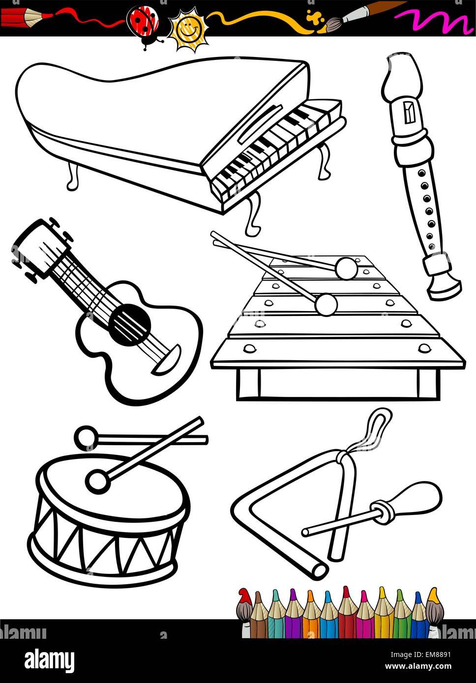 Cartoon Malvorlagen Musikinstrumente Vektor Abbildung - Bild ...