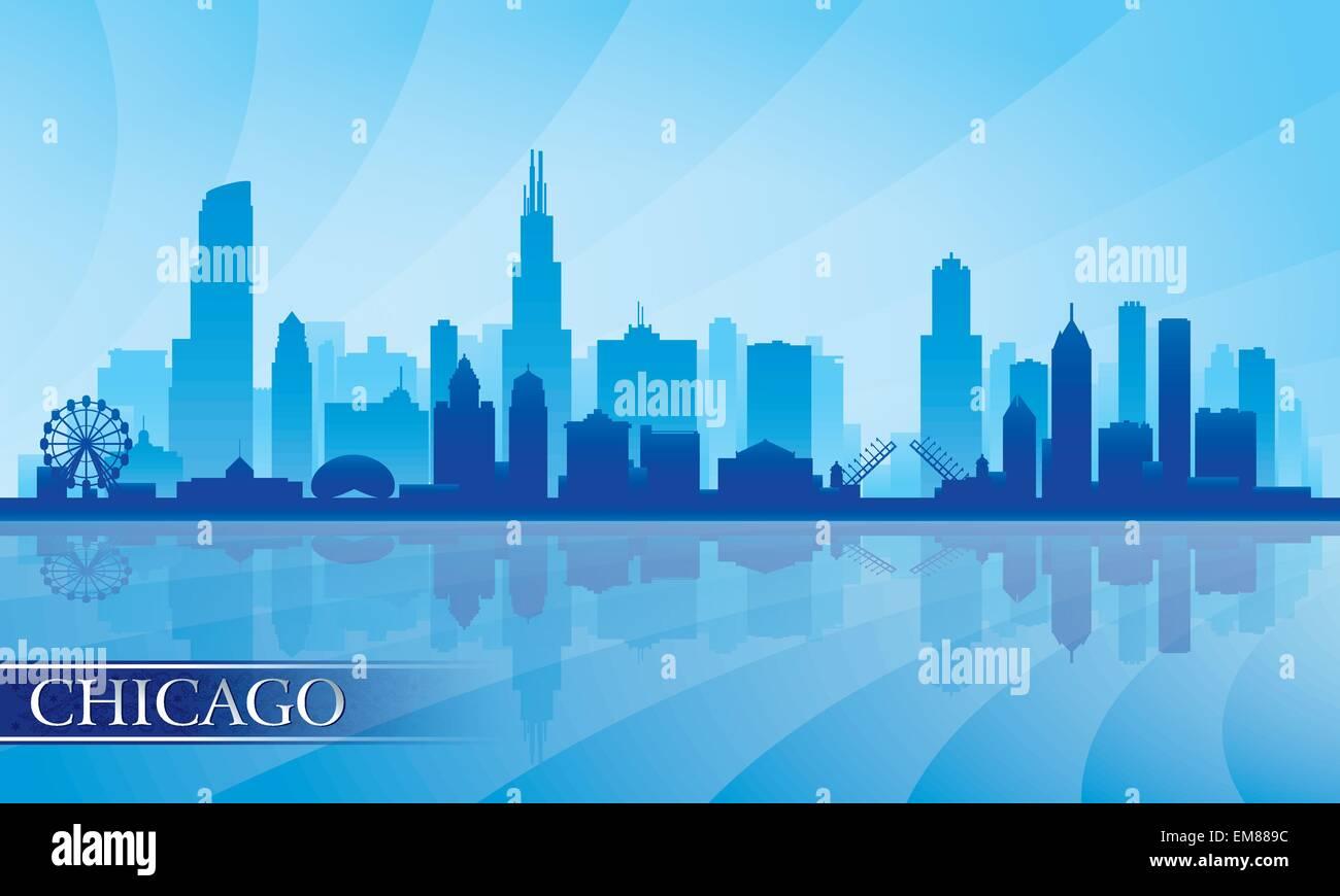 Chicago Skyline detaillierte Stadtsilhouette Stockbild