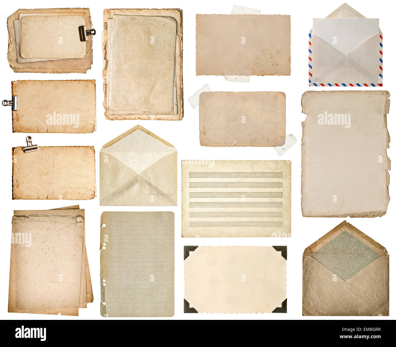Blatt Papier verwendet. Alten Buchseiten, Pappen, Musiknoten ...