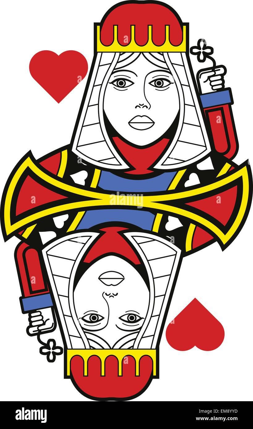 Queen Of Hearts Card Vector Stockfotos & Queen Of Hearts Card Vector ...