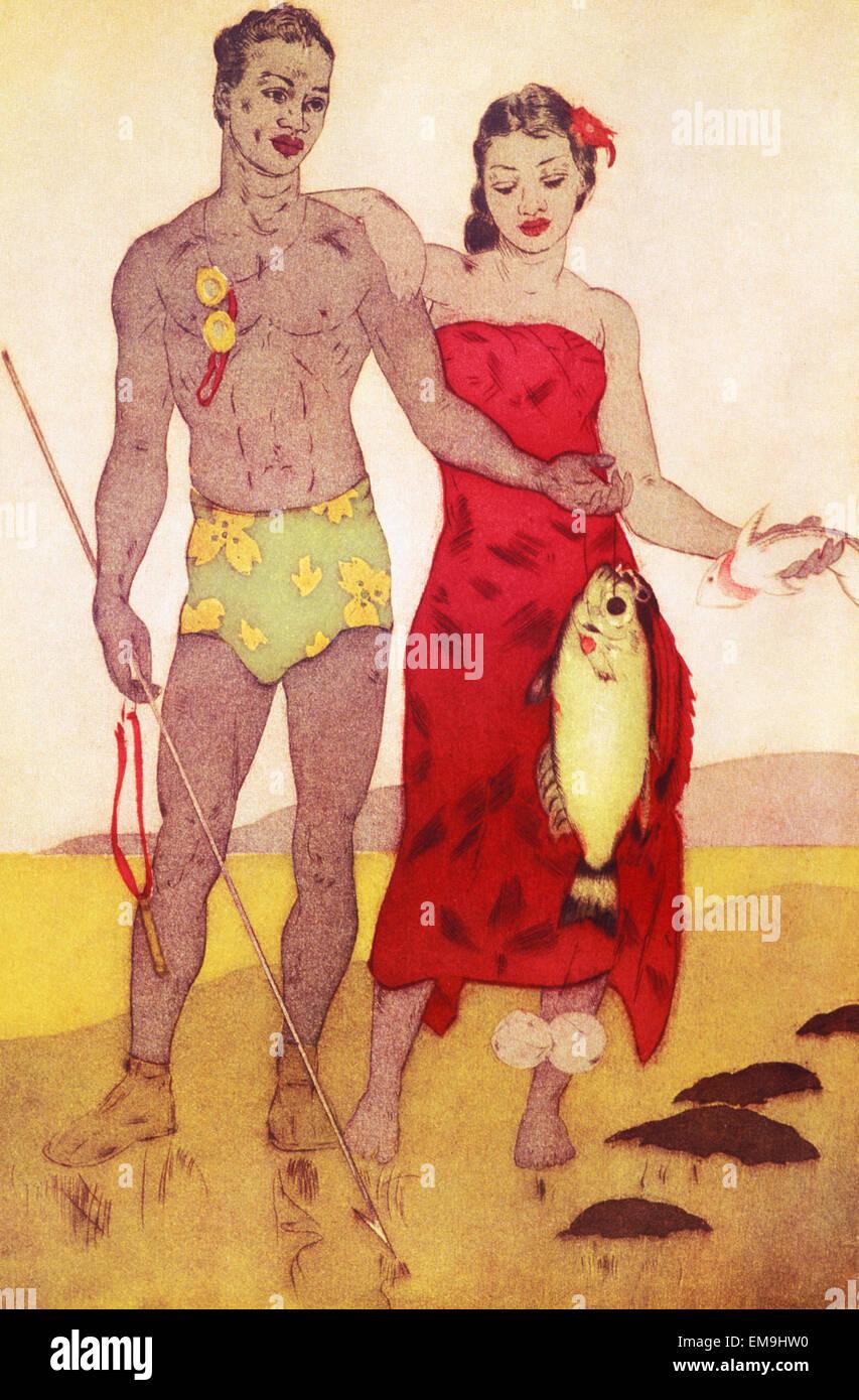 Archival Illustration, Native Hawaiian Mann und Frau Stand zusammenhält frisch gefangenen Fisch, John Kelly Stockbild