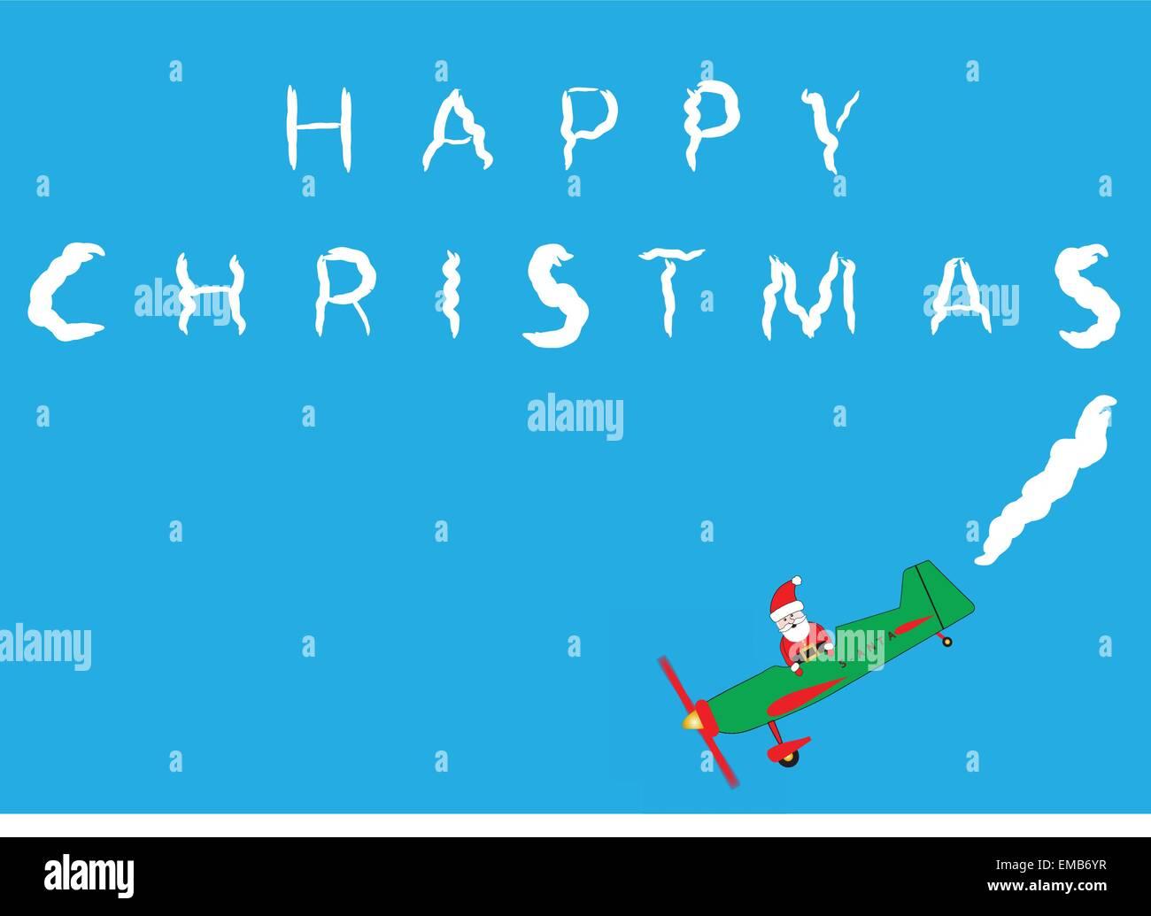 Frohe Weihnachten Flugzeug.Santa Claus In Einem Cartoon Flugzeug Sky Schreiben Frohe
