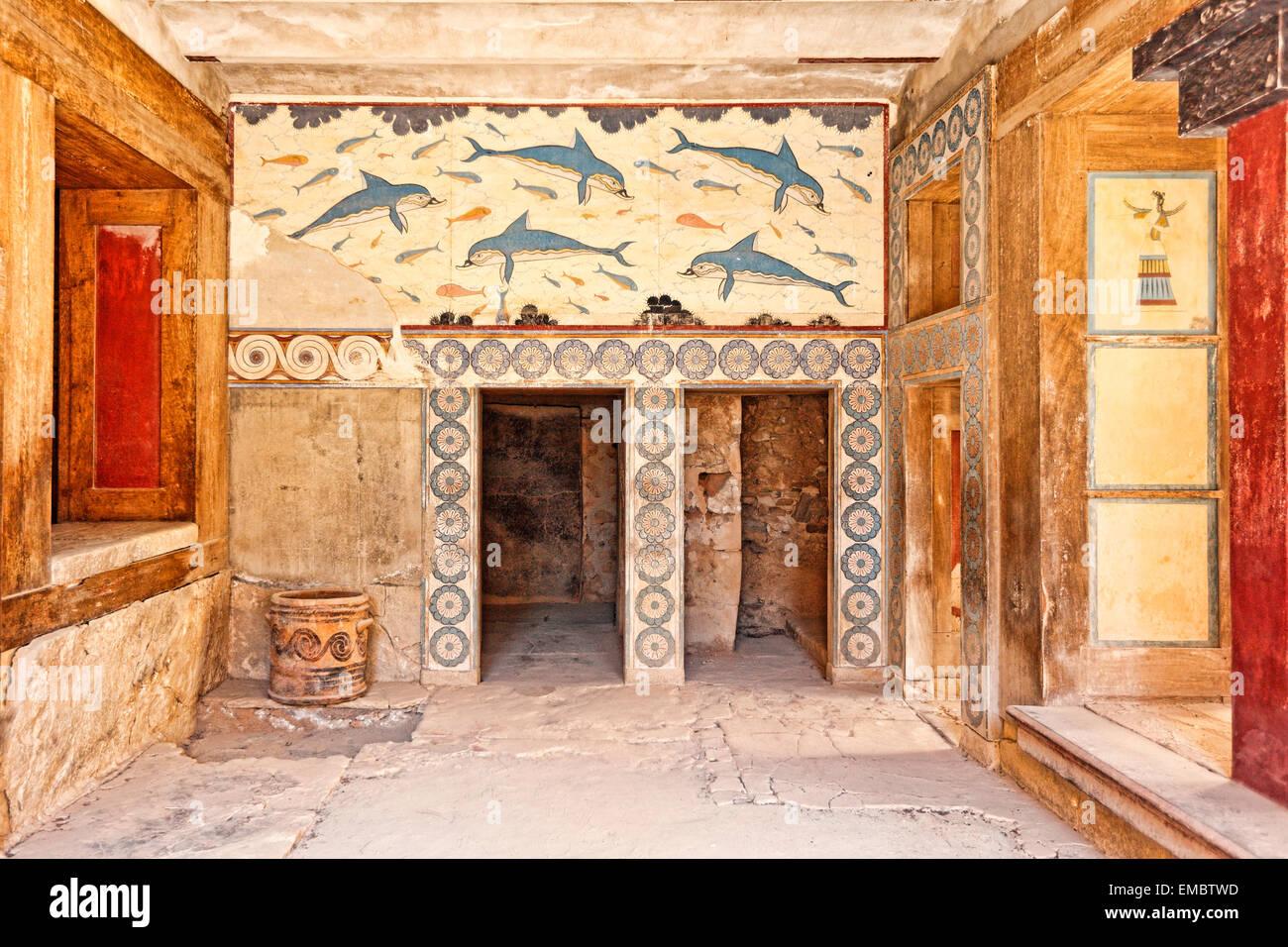 Die Halle der Doppeläxte und Megaron der Königin des Palastes in Knossos auf Kreta, Griechenland Stockbild