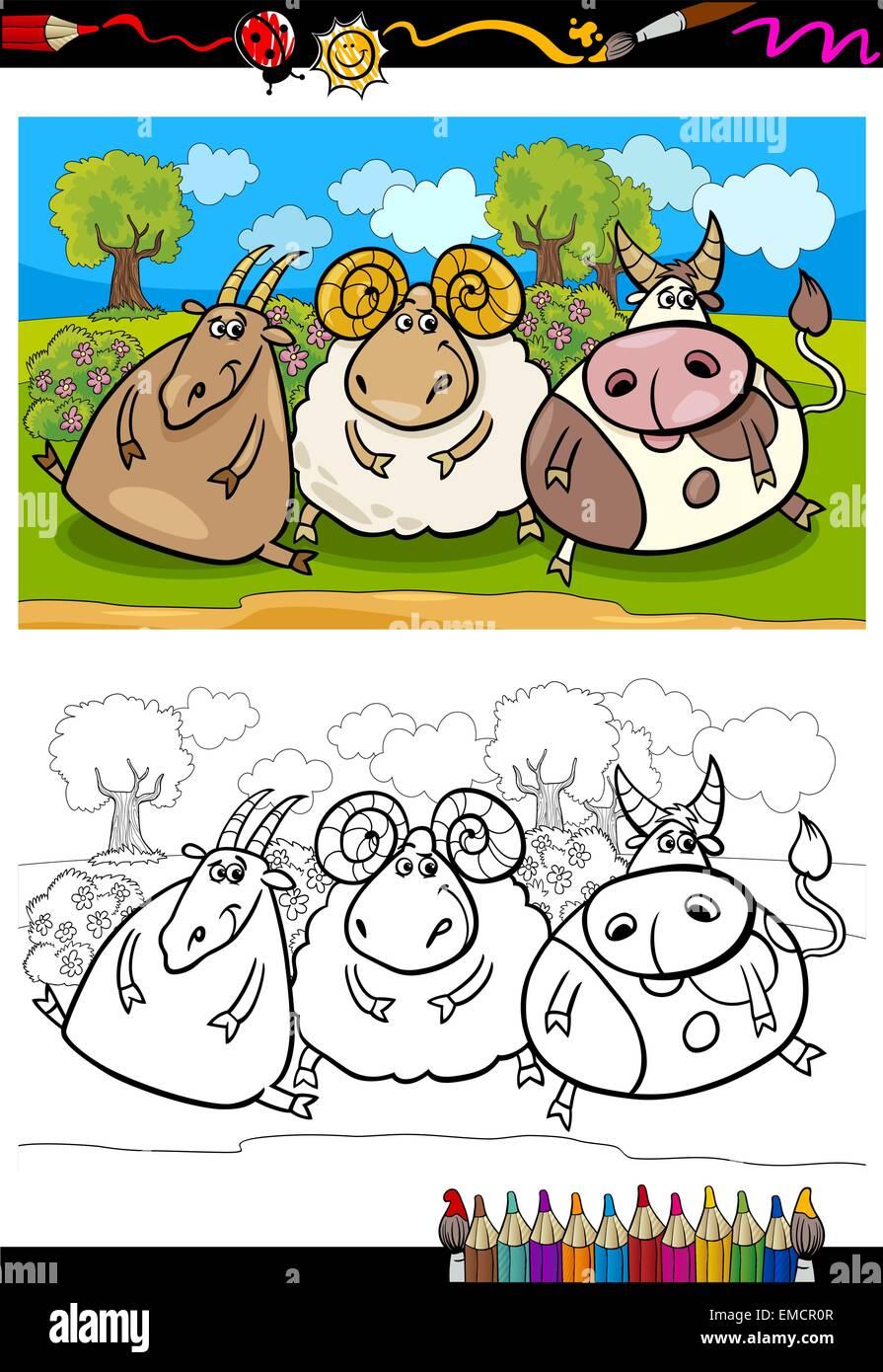 Cartoon-Bauernhof-Tiere Malvorlagen Vektor Abbildung - Bild ...
