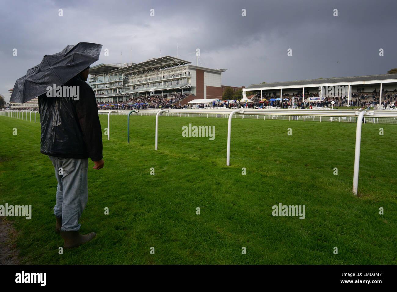 Zuschauer beobachten die Rennen in York Racecourse, North Yorkshire, UK. Bild: Scott Bairstow/Alamy Stockbild