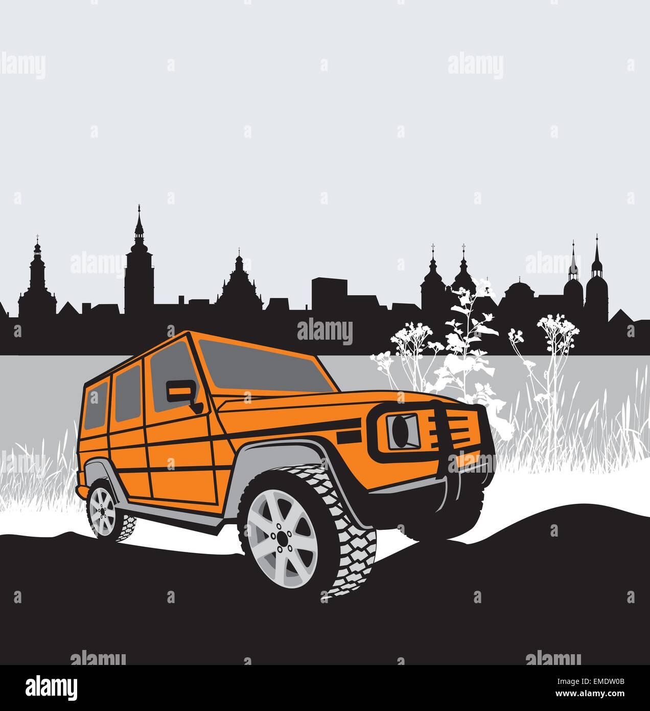 Offroad-Fahrzeug in natur Stockbild