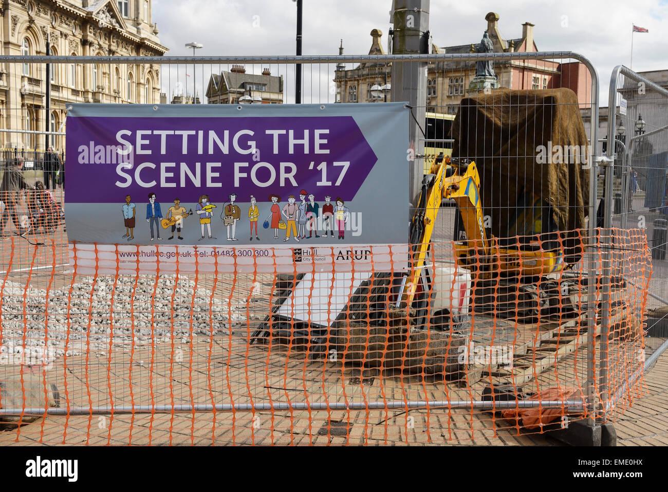 Städtische Werke im Stadtzentrum von Hull in Vorbereitung auf die britische Stadt der Kultur 2017 Stockbild