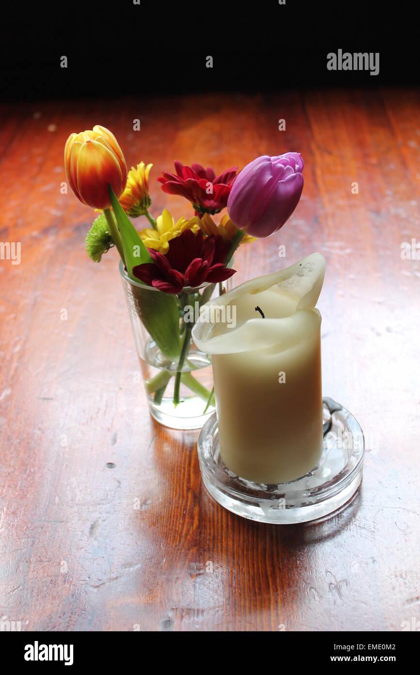 Kerze Tisch Blumen