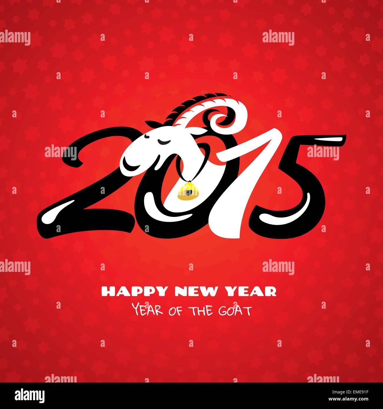 Chinesisches Neujahr-Karte mit Ziege Vektor Abbildung - Bild ...