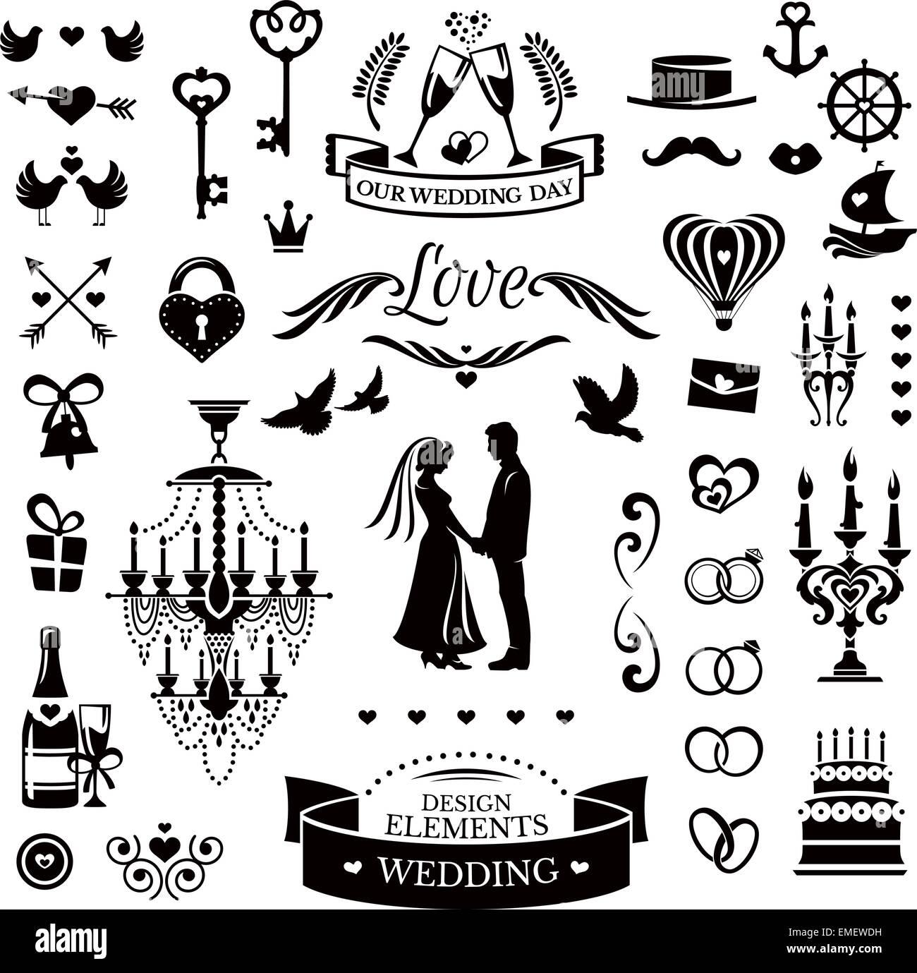 Hochzeit Symbole Und Elemente Vektor Abbildung Bild 81461901 Alamy