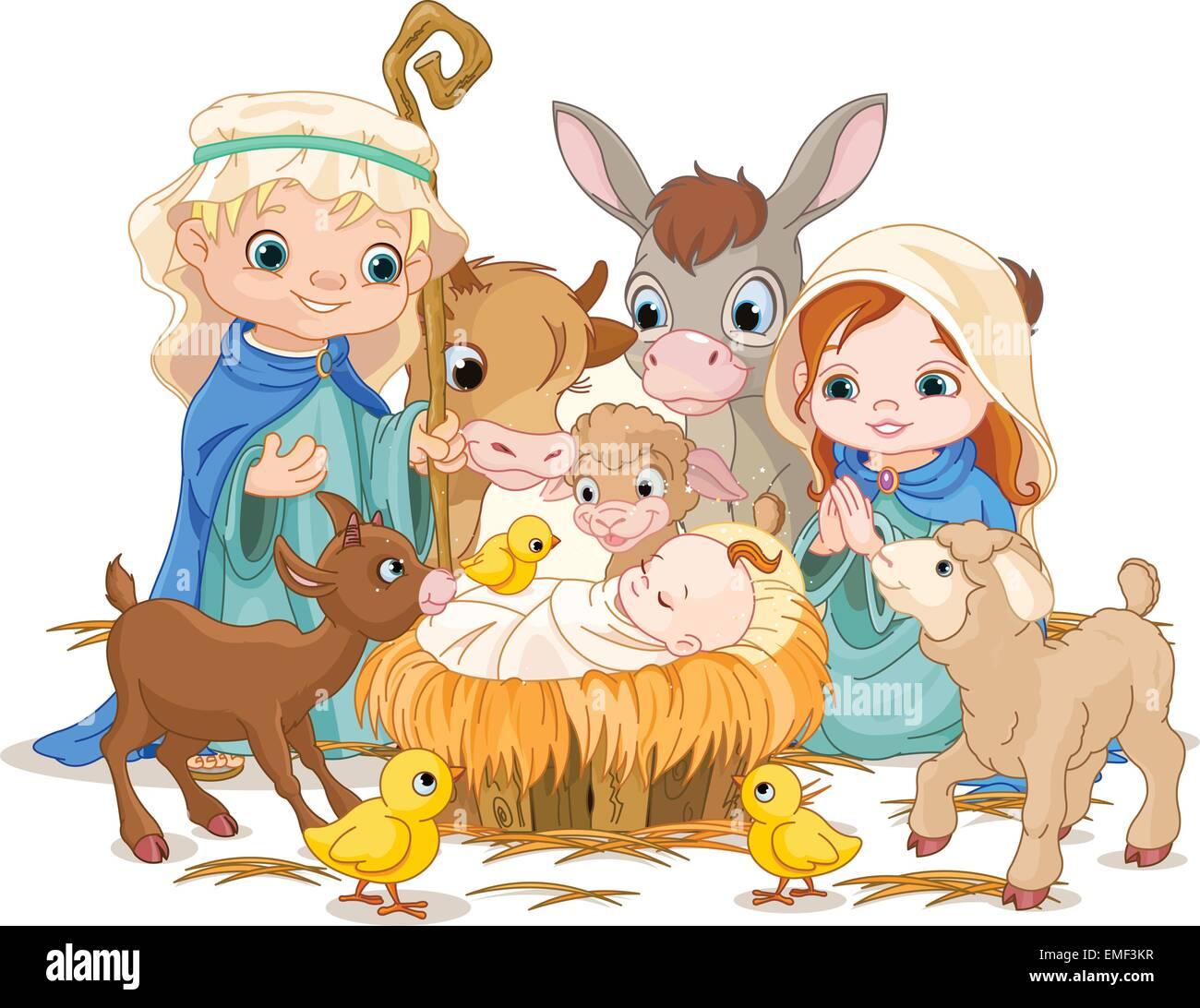 Heilige Familie Weihnachten nachts Vektor Abbildung - Bild: 81466779 ...