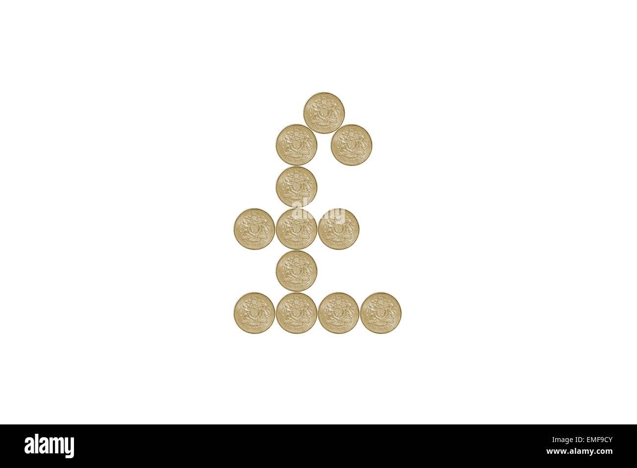 Pfund Zeichen Aus Einem Pfund Münzen Hergestellt Stockfoto Bild